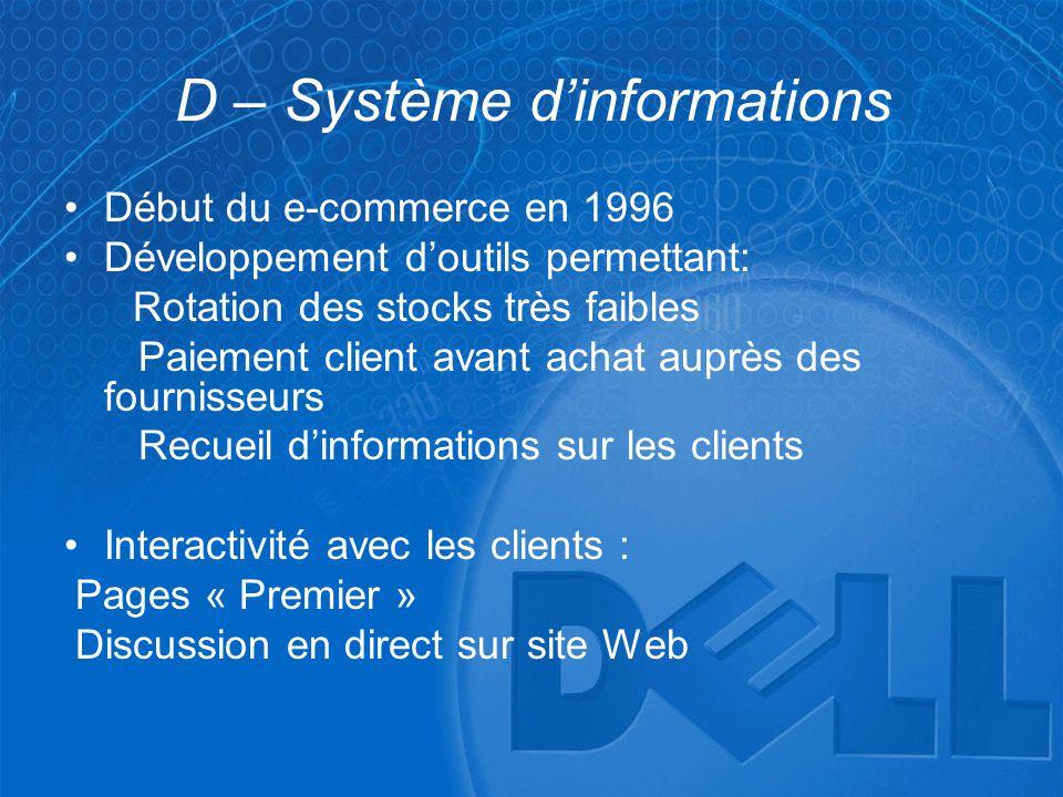 D – Système d'informations