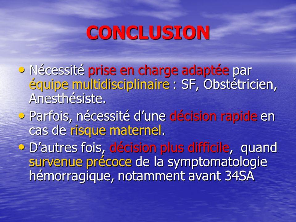 CONCLUSION Nécessité prise en charge adaptée par équipe multidisciplinaire : SF, Obstétricien, Anesthésiste.