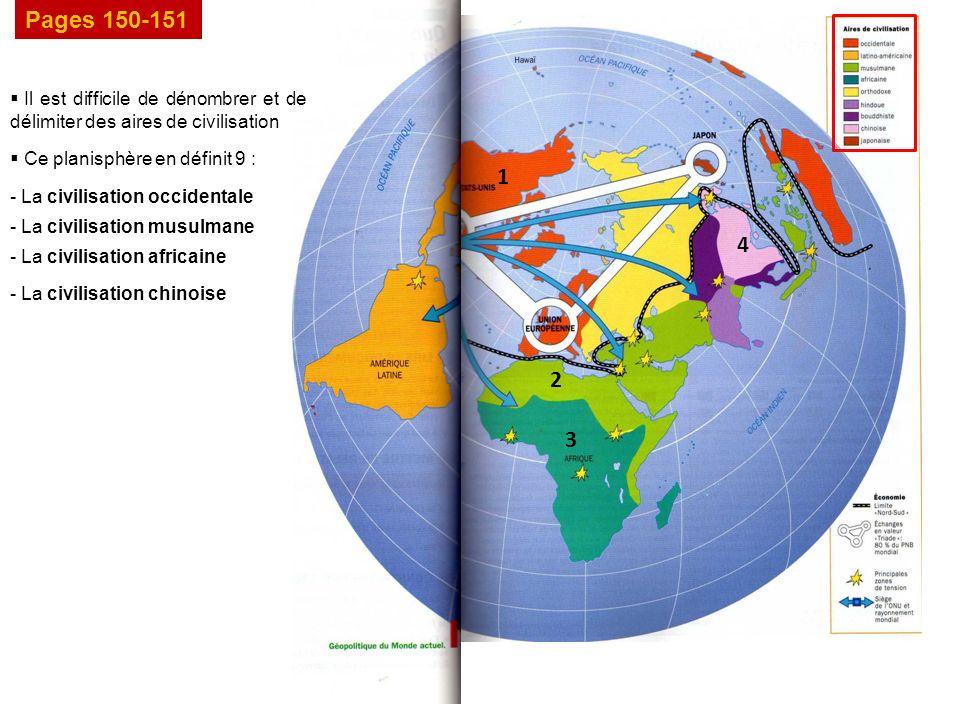 Pages 150-151 Il est difficile de dénombrer et de délimiter des aires de civilisation. Ce planisphère en définit 9 :