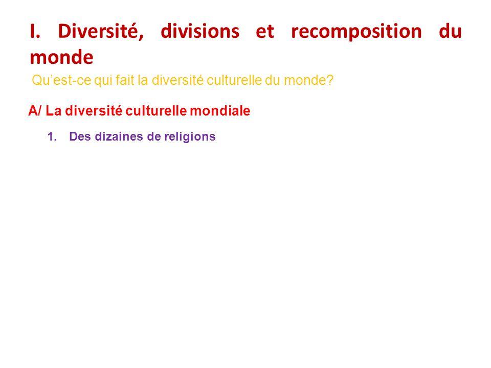 I. Diversité, divisions et recomposition du monde