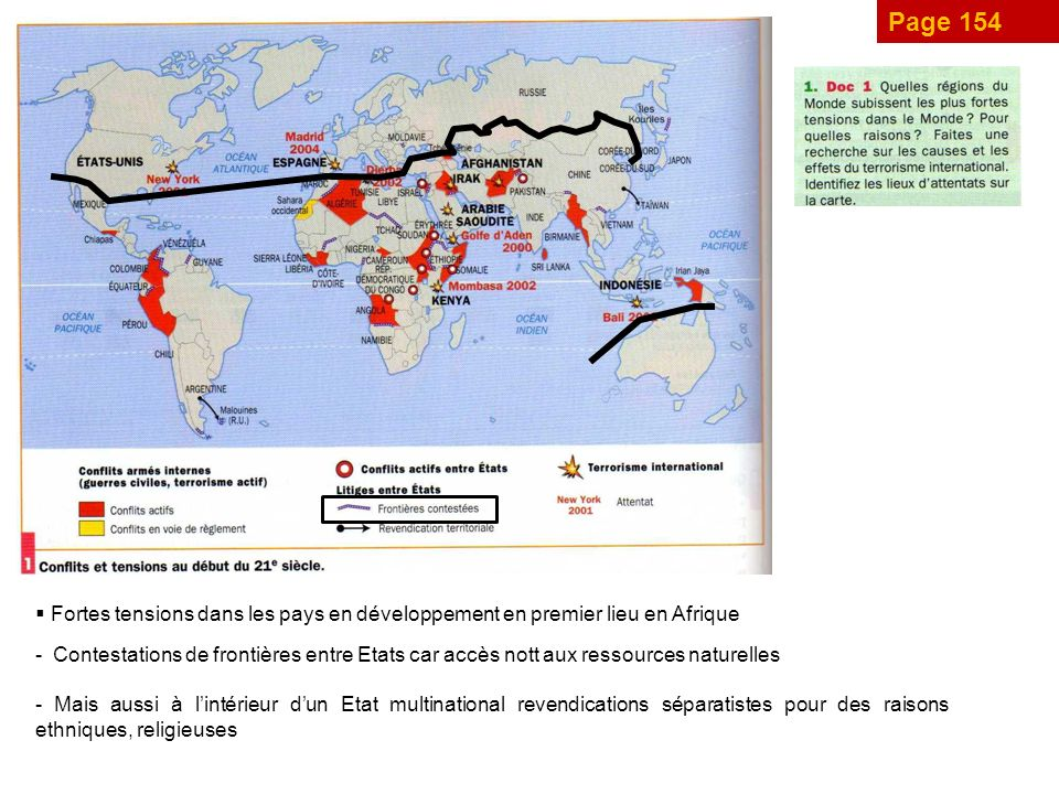 Page 154 Fortes tensions dans les pays en développement en premier lieu en Afrique.