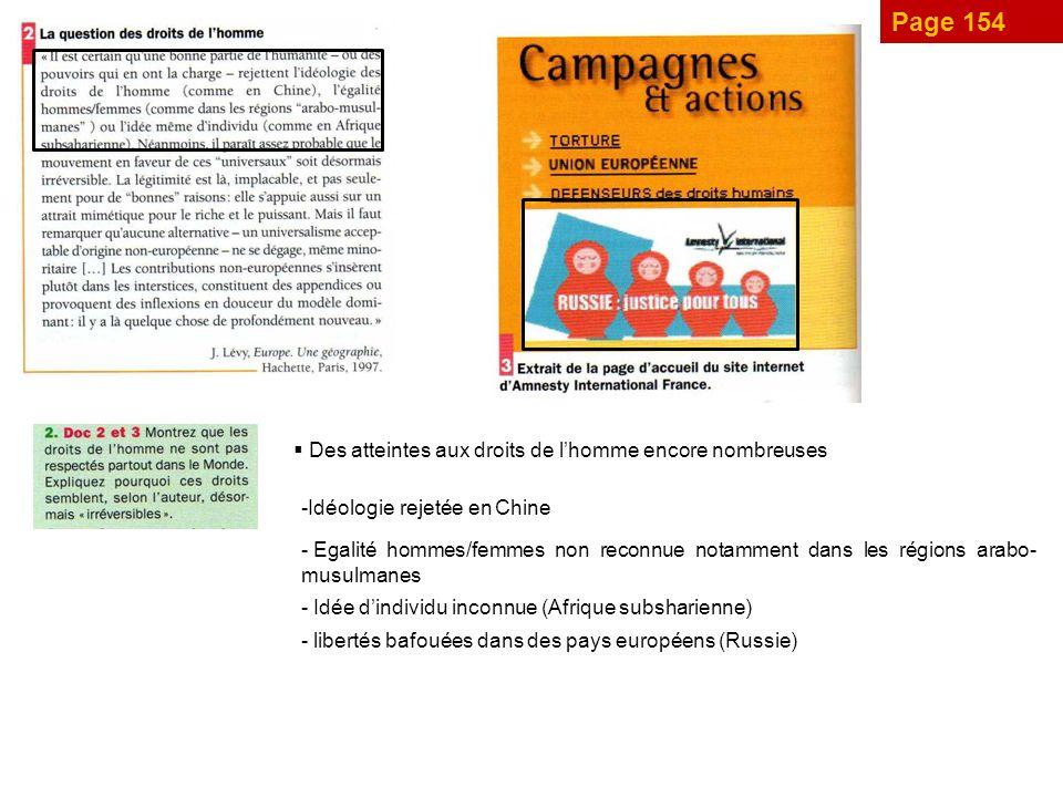 Page 154 Des atteintes aux droits de l'homme encore nombreuses