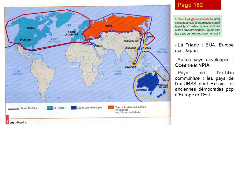 Page 162 La Triade : EUA, Europe occ, Japon