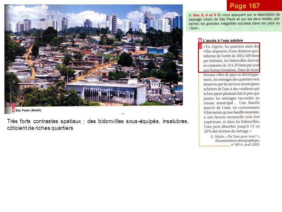 Page 167 Très forts contrastes spatiaux : des bidonvilles sous-équipés, insalubres, côtoient de riches quartiers.