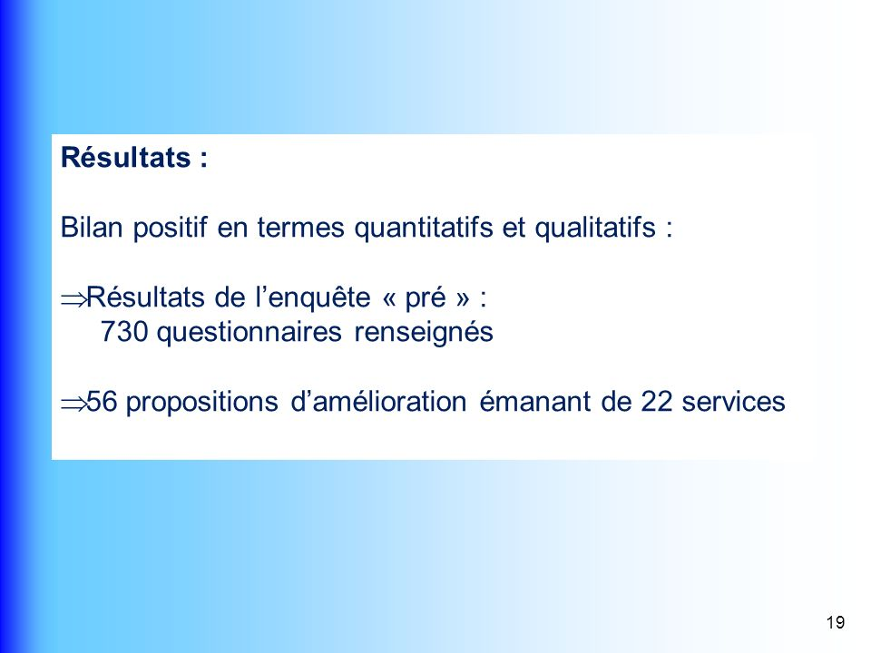 Bilan positif en termes quantitatifs et qualitatifs :