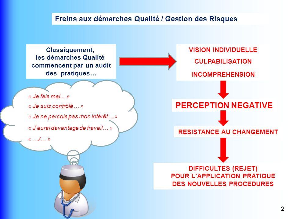 PERCEPTION NEGATIVE Freins aux démarches Qualité / Gestion des Risques