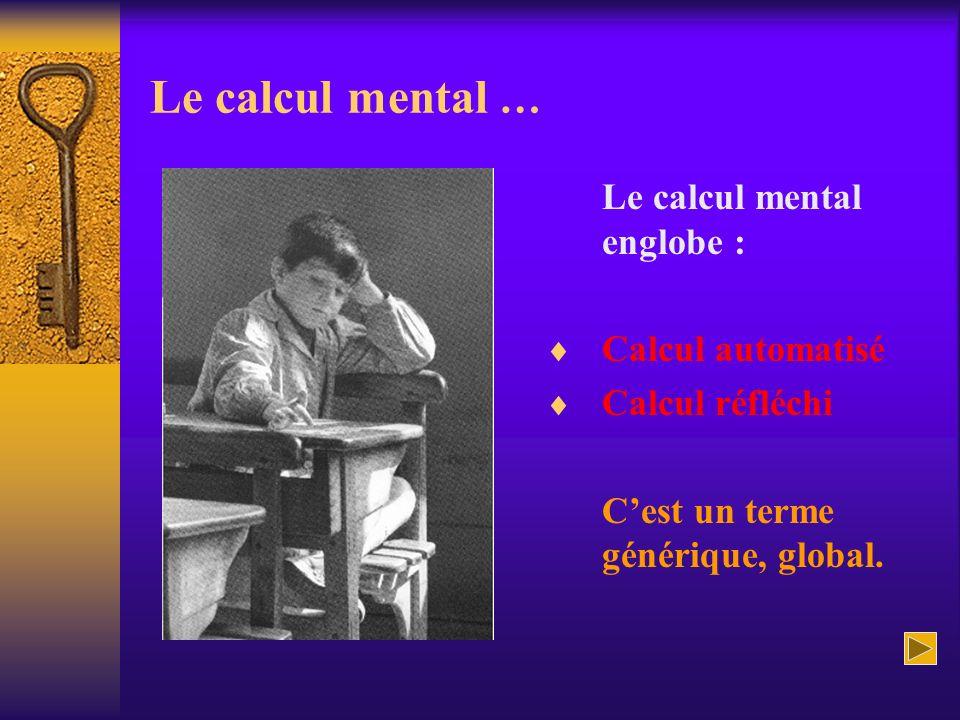Le calcul mental … Le calcul mental englobe : Calcul automatisé