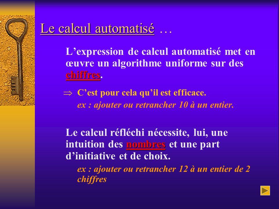 Le calcul automatisé … L'expression de calcul automatisé met en œuvre un algorithme uniforme sur des chiffres.