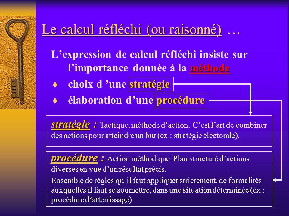 Le calcul réfléchi (ou raisonné) …