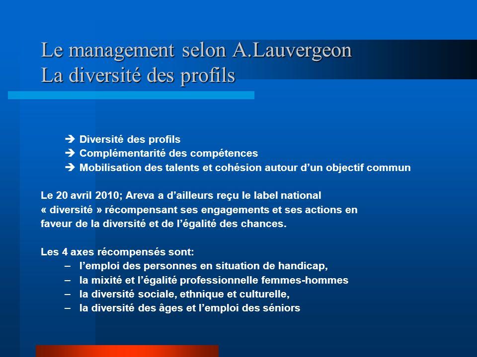 Le management selon A.Lauvergeon La diversité des profils