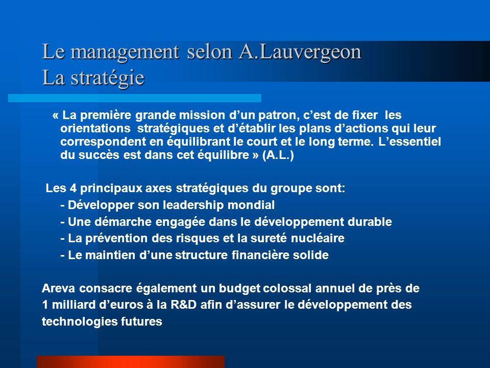 Le management selon A.Lauvergeon La stratégie