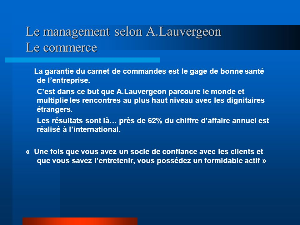 Le management selon A.Lauvergeon Le commerce