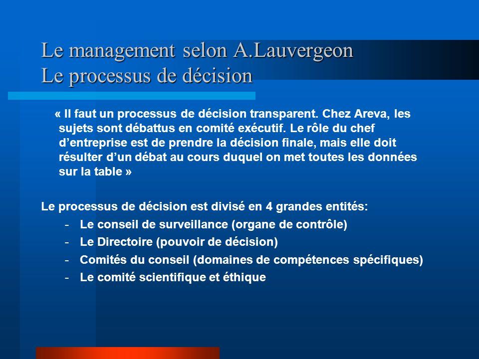 Le management selon A.Lauvergeon Le processus de décision