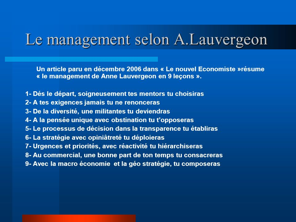 Le management selon A.Lauvergeon
