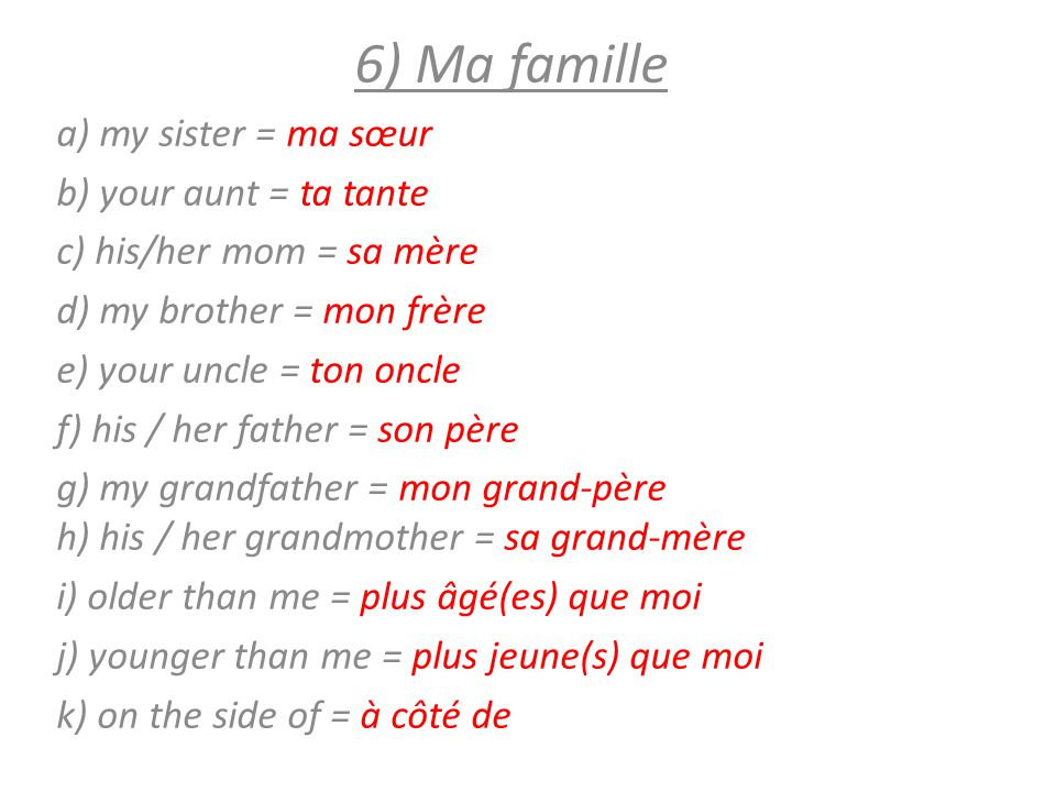 6) Ma famille a) my sister = ma sœur b) your aunt = ta tante