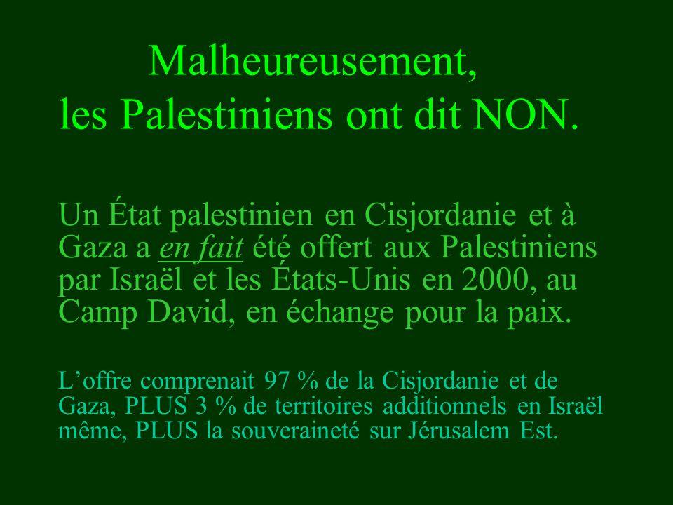 les Palestiniens ont dit NON.