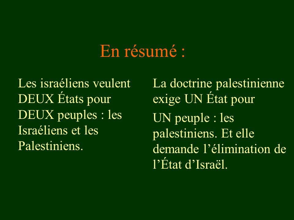En résumé : Les israéliens veulent DEUX États pour DEUX peuples : les Israéliens et les Palestiniens.