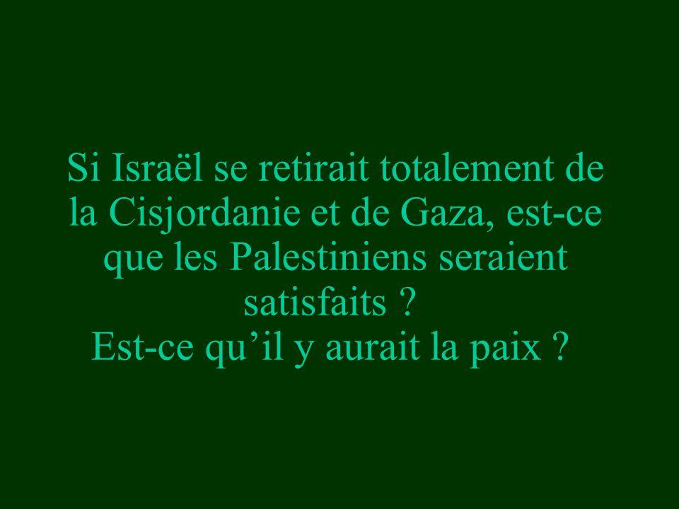 Si Israël se retirait totalement de la Cisjordanie et de Gaza, est-ce que les Palestiniens seraient satisfaits .