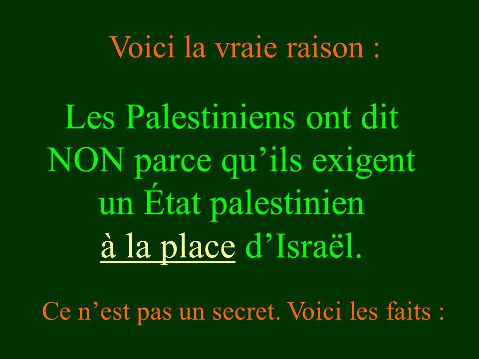 Voici la vraie raison : Les Palestiniens ont dit NON parce qu'ils exigent un État palestinien à la place d'Israël.