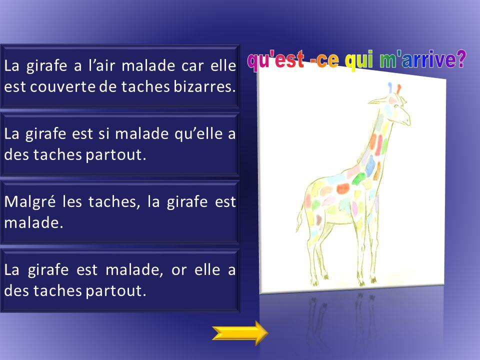 1 La girafe a l'air malade car elle est couverte de taches bizarres.