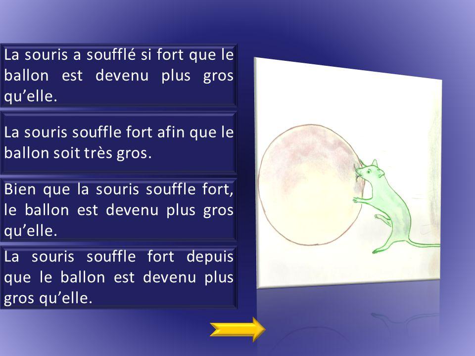 La souris a soufflé si fort que le ballon est devenu plus gros qu'elle.
