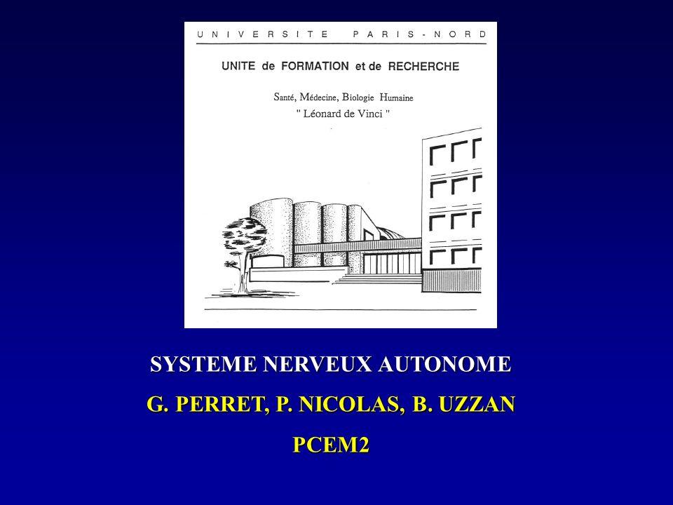 SYSTEME NERVEUX AUTONOME G. PERRET, P. NICOLAS, B. UZZAN