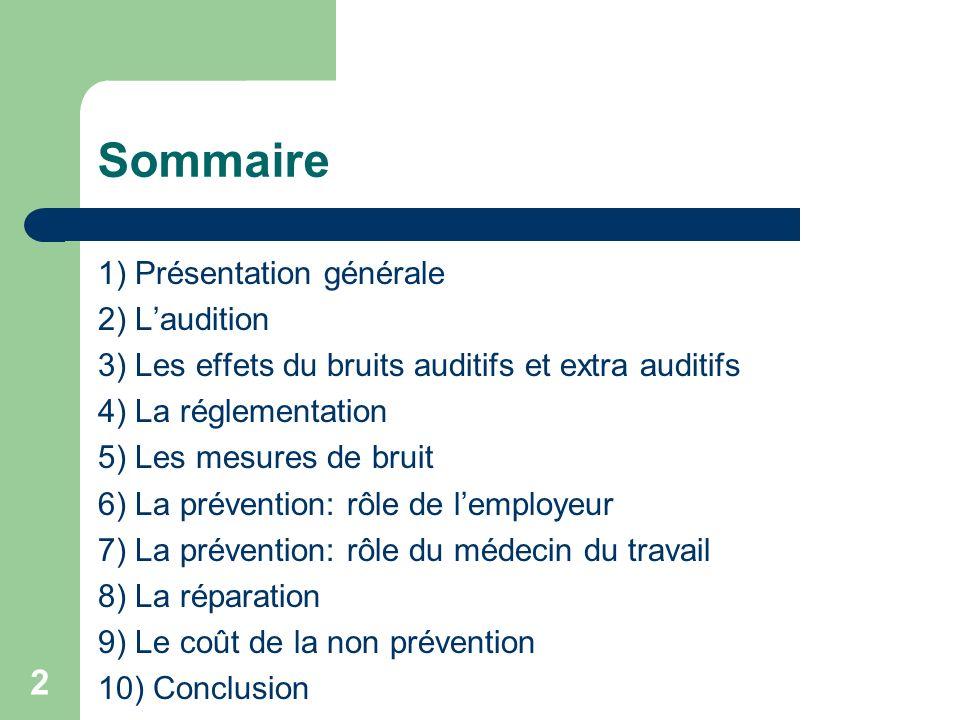 Sommaire 1) Présentation générale 2) L'audition