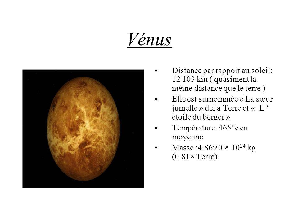 Vénus Distance par rapport au soleil: 12 103 km ( quasiment la même distance que le terre )