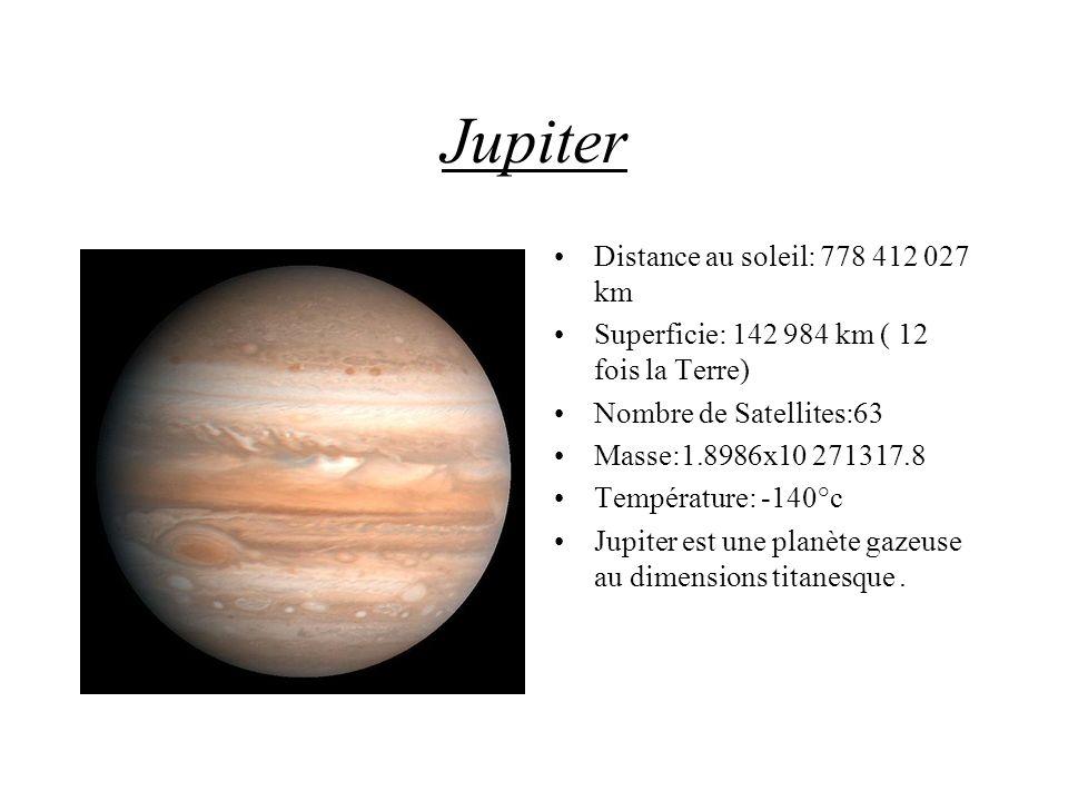 Jupiter Distance au soleil: 778 412 027 km