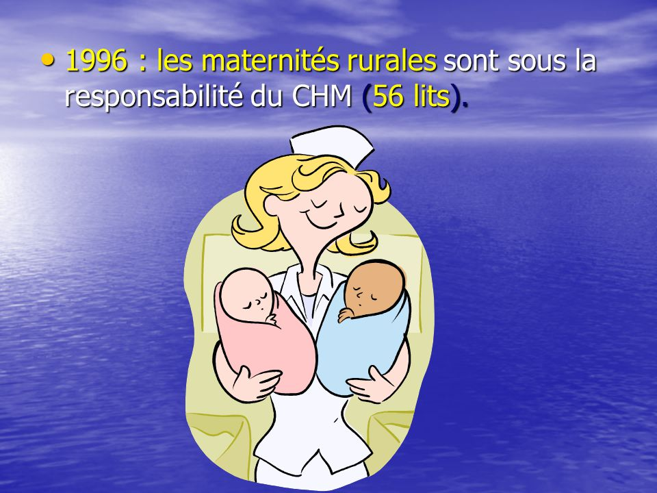 1996 : les maternités rurales sont sous la responsabilité du CHM (56 lits).
