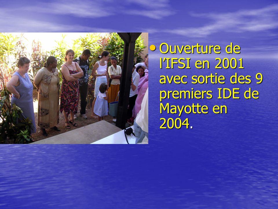 Ouverture de l'IFSI en 2001 avec sortie des 9 premiers IDE de Mayotte en 2004.