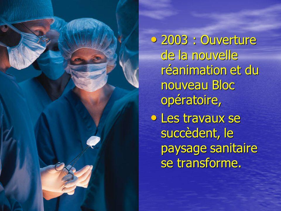 2003 : Ouverture de la nouvelle réanimation et du nouveau Bloc opératoire,