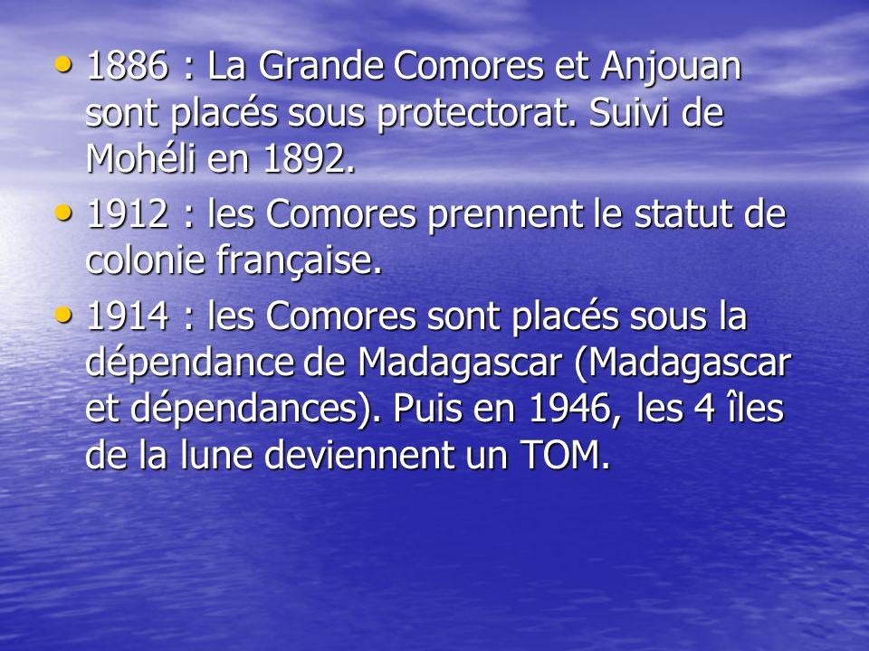 1886 : La Grande Comores et Anjouan sont placés sous protectorat