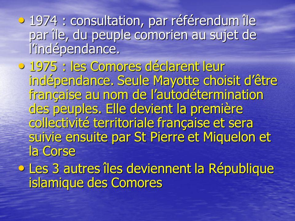 1974 : consultation, par référendum île par île, du peuple comorien au sujet de l'indépendance.