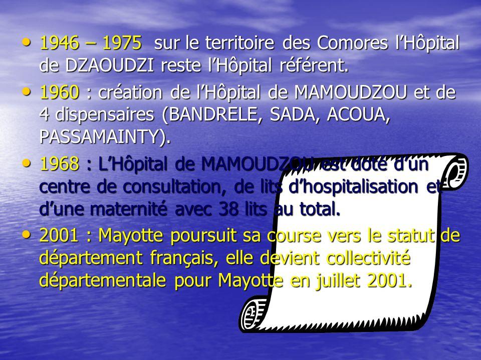1946 – 1975 sur le territoire des Comores l'Hôpital de DZAOUDZI reste l'Hôpital référent.