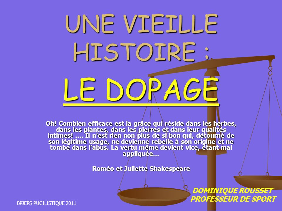 UNE VIEILLE HISTOIRE : LE DOPAGE
