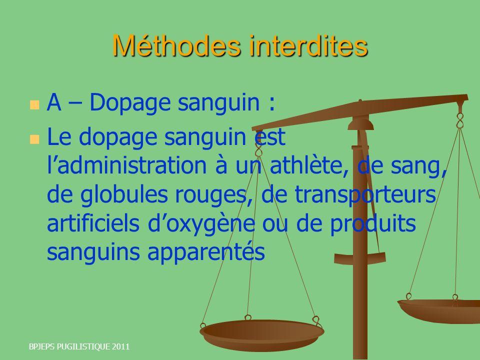 Méthodes interdites A – Dopage sanguin :