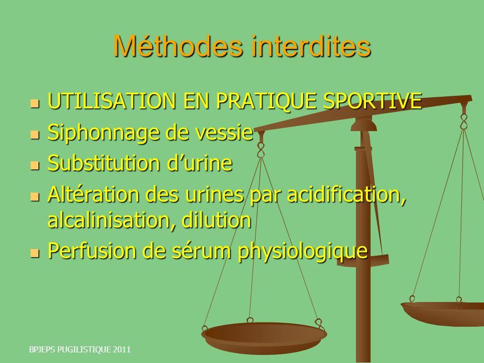 Méthodes interdites UTILISATION EN PRATIQUE SPORTIVE