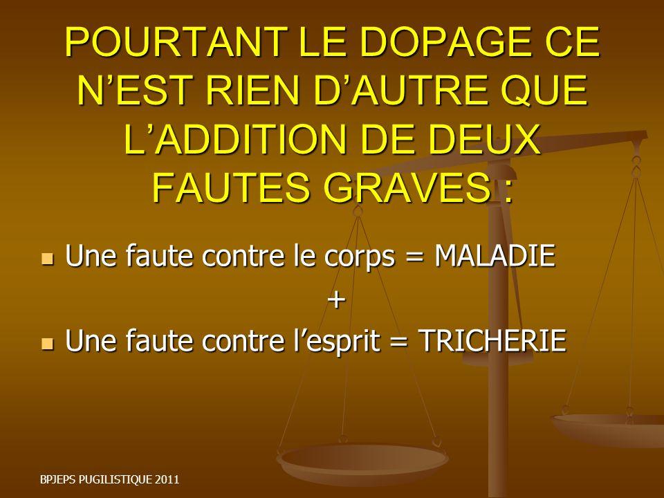 POURTANT LE DOPAGE CE N'EST RIEN D'AUTRE QUE L'ADDITION DE DEUX FAUTES GRAVES :