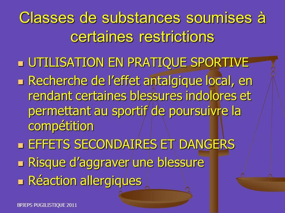 Classes de substances soumises à certaines restrictions