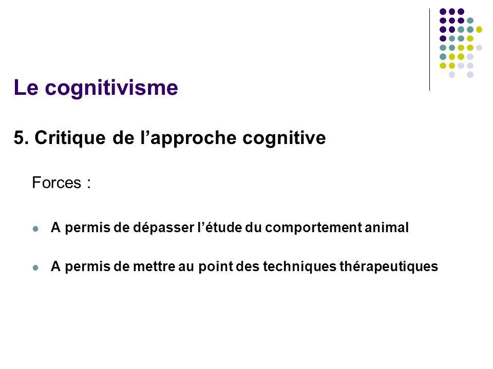 Le cognitivisme 5. Critique de l'approche cognitive Forces :