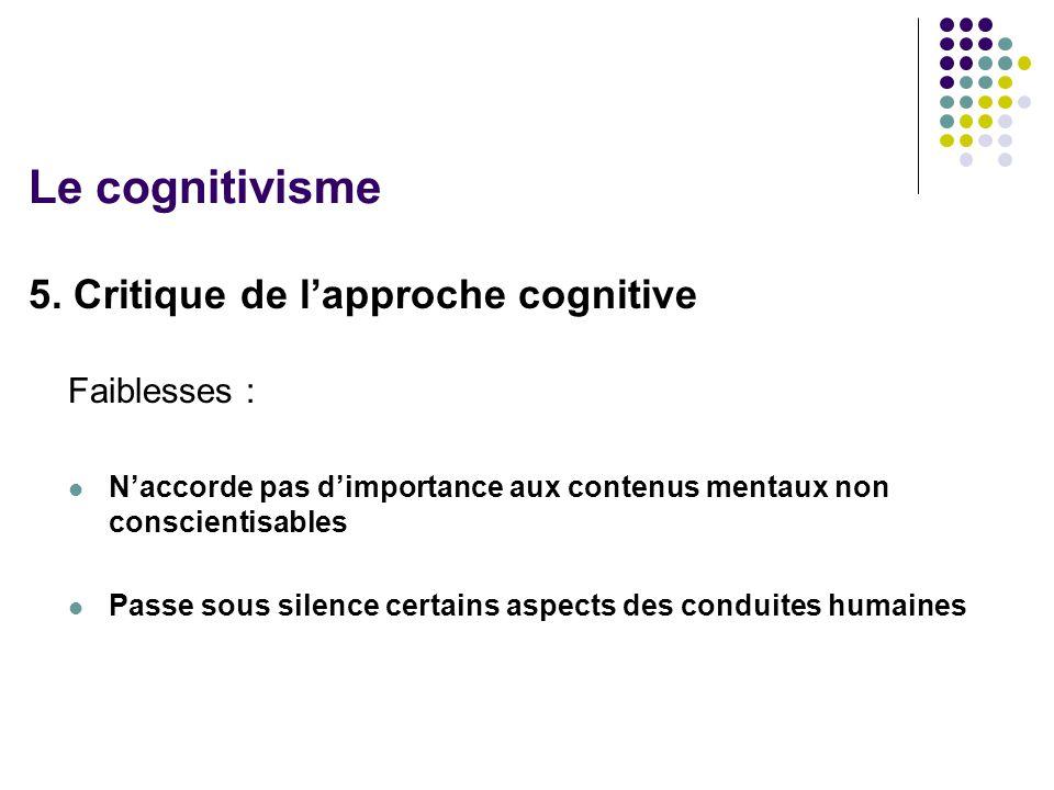 Le cognitivisme 5. Critique de l'approche cognitive Faiblesses :