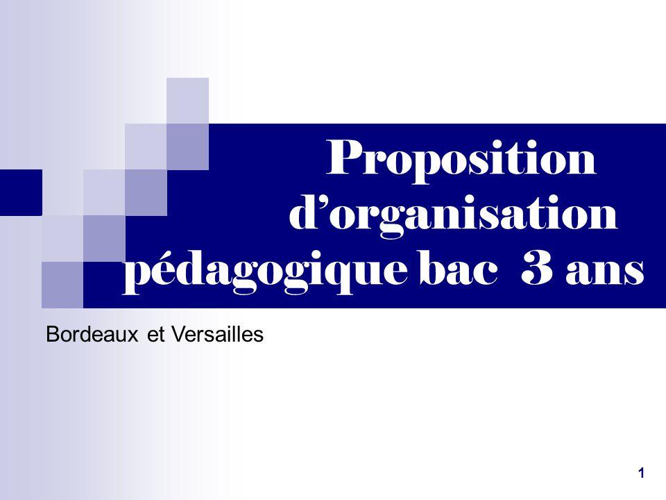 Proposition d'organisation pédagogique bac 3 ans