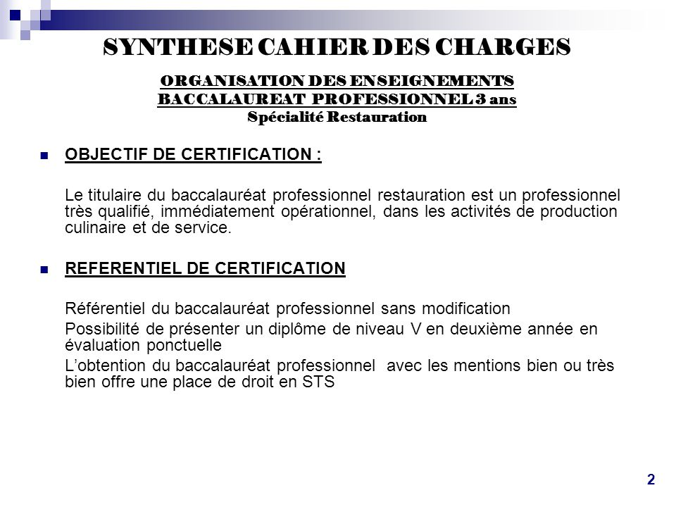 SYNTHESE CAHIER DES CHARGES