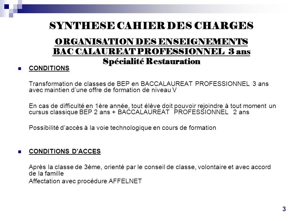 SYNTHESE CAHIER DES CHARGES ORGANISATION DES ENSEIGNEMENTS BAC CALAUREAT PROFESSIONNEL 3 ans Spécialité Restauration