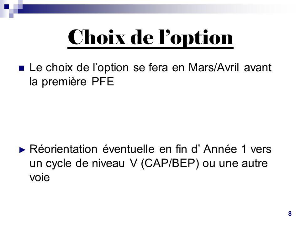 Choix de l'option Le choix de l'option se fera en Mars/Avril avant la première PFE.