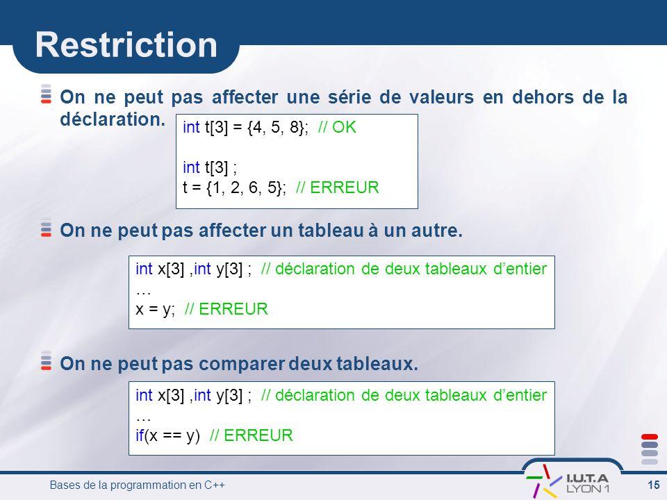 Restriction On ne peut pas affecter une série de valeurs en dehors de la déclaration. On ne peut pas affecter un tableau à un autre.