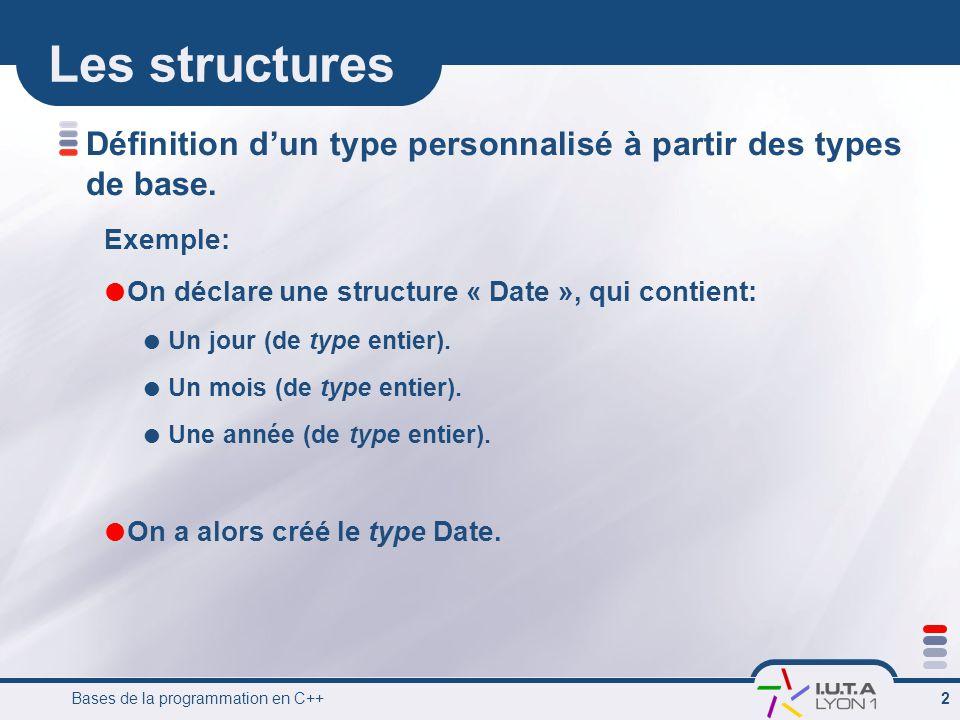Les structures Définition d'un type personnalisé à partir des types de base. Exemple: On déclare une structure « Date », qui contient:
