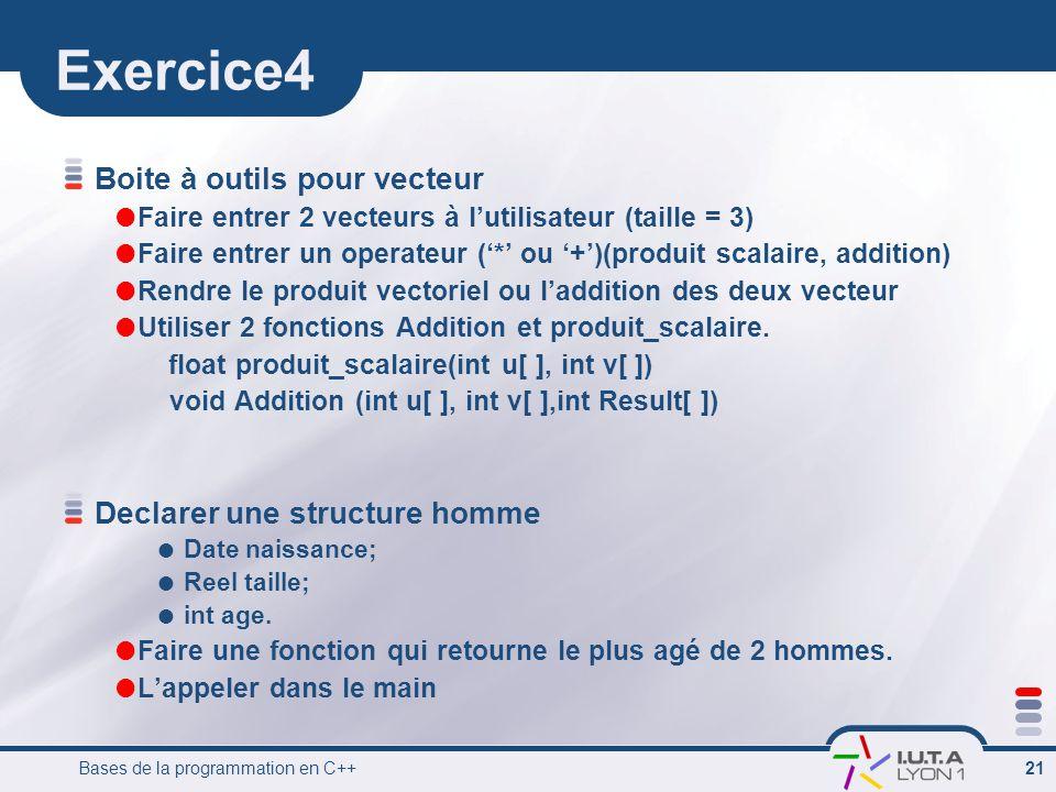 Exercice4 Boite à outils pour vecteur Declarer une structure homme