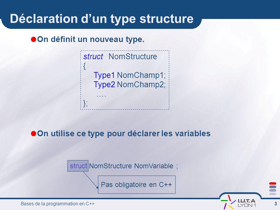 Déclaration d'un type structure